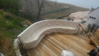 Curved Bench Cover Stamoid Light Sand