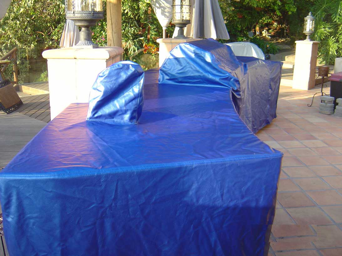 Curved Island Cover Marine Vinyl Blue