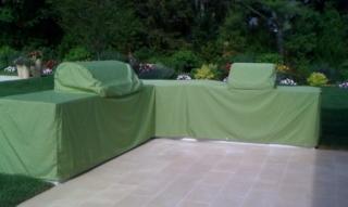 Double Grill Island Cover Sunbrella Gingko