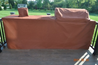 Island Cover with pocket for faucet Sunbrella Canvas Nutmeg