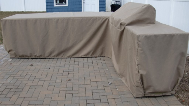 L Shape Grill Island Cover Sunbrella Heather Beige