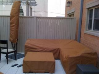 L-Shape Sofa Umbrella and Ottoman Cover Sunbrella Tan
