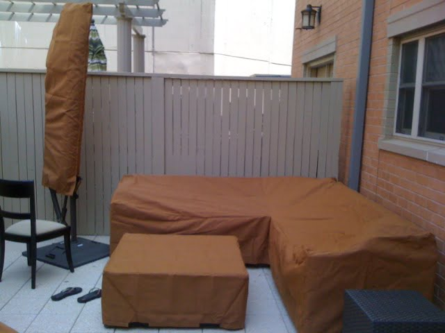 L Shape Sofa Umbrella And Ottoman Cover Sunbrella Tan