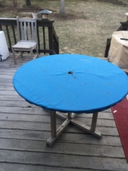 Round Table top cover with hole for umbrella with shockcord drawstring