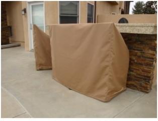 Three Bar Stool Covers Sunbrella Beige