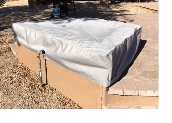 Trapezoid Fire Pit Sunbrella Cadet Grey 2